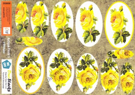 Antique Yellow Rose Die Cut Pyramid 3d Decoupage Sheet